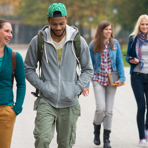 Students walking through a campus